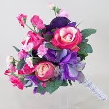 Silk Wedding Flowers Summer Garden Artificial Wedding Bouquet Pink And Purple Flowers