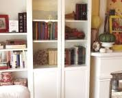 Bookcase With Frosted Glass Doors Rectangle White Wooden Bookcase With Five Shelves Plus Double