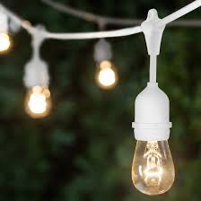 Clear Patio Lights Commercial Patio String Lights Clear S14 Bulbs Suspended White