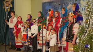 ukrainian traditional choir from young women and children dressed