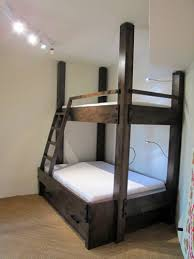 twin over full bunk bed with integrated ladder and low voltage