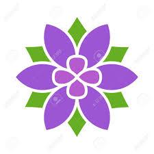 pink flat color violet six petal flower blossom or bloom flat color icon for