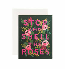 boxed roses stop smell the roses greeting card by rifle paper co made in usa