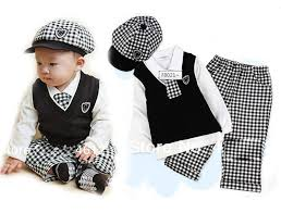 sopo baby boy formal wear 5 pc set hat tie vest