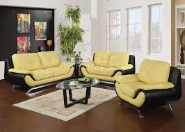 yellow living room set 50760 oberon sofa in yellow black bonded leather by acme