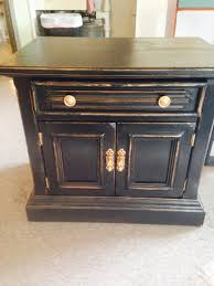 black and gold distressed nightstand chalkpaint distressed