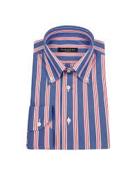 forzieri red and white striped blue cotton italian dress shirt in