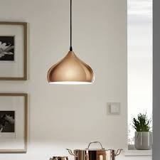 Copper Light Pendants Eglo Hapton Polished Copper Pendant Light Kitchen Lighting From