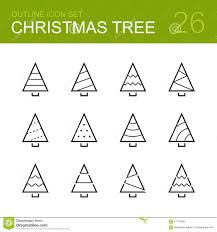 christmas tree vector outline icon set stock vector image 61179993