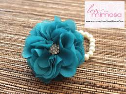 teal corsage wrist corsage chiffon flower corsage teal teal corsage