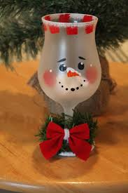 snowman frosted wine glass tea light holder handpainted holiday