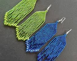Native American Beaded Earrings Huichol Native American Earrings Boho Earrings Huichol Indian