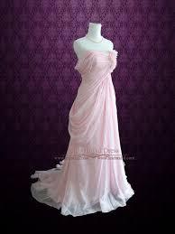 blush pink ethereal grecian goddess off shoulder beach prom dress