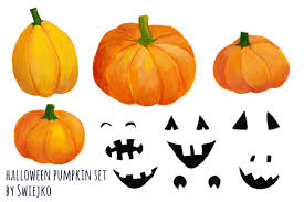 haloween clipart hand painted pumpkin halloween clipart printable art autumn