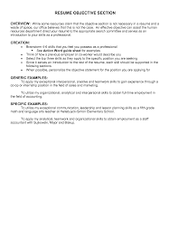 resume exles for objective section resume objectives best templateresume objective exles