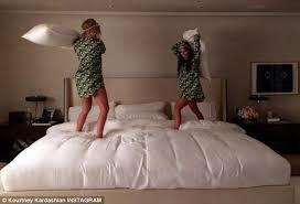 khloe kardashian bedroom khloe and kourtney kardashian have a pillow fight in matching camou