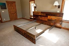 Platform Bed With Floating Nightstands Reclaimed Platform Bed With Floating End Tables Ideas Diy Diy