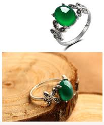 green stone rings images Online shop 100 s925 solid thai silver green stone ring new fine jpg