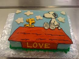 snoopy and woodstock love birthday cake thecakebaker