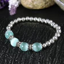 elastic bead bracelet images Blue crystal beads simple silver eye beads bracelet elastic jpg