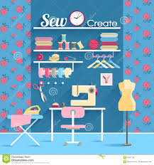 sewing room concept design poster stock vector image 56857766