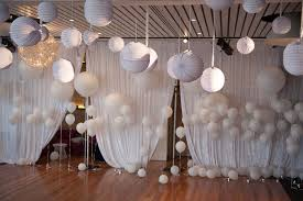 some white lanterns on the ceiling and ballon completed by white
