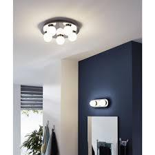 eglo 94631 mosiano led chrome bathroom 5 lamp round plate flush