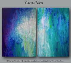 Home Decor Canvas Art Large Abstract Canvas Art Print Set Wall Art Teal Home