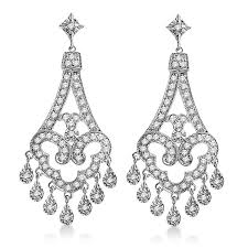 chandelier diamonds dangling chandelier diamond earrings 14k white gold 1 08ct allurez