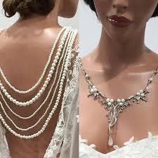 wedding backdrop necklace vintage ivory pearl inspired backdrop wedding jewelry