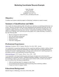 Coordinator Sample Resume Sample Resume Objective For Marketing Coordinator