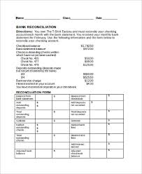 sample bank reconciliation form 9 examples in pdf word excel
