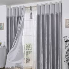 Length Curtains Decorative Polyester Ready Made Curtains In Gray For Living Room