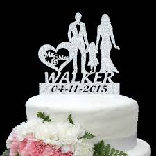 family cake toppers personalize name date gold silver wedding cake topper mr mrs kid