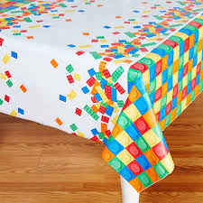 building block plastic tablecover birthdayexpress