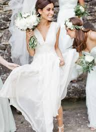 Wedding Dresses With Sleeves Uk White Chiffon Deep V Neck Cap Sleeves A Line Simple Beach Wedding