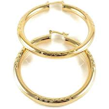 gold plated earrings wheat 50cm design diamond cut 18kts gold plated earrings hoops