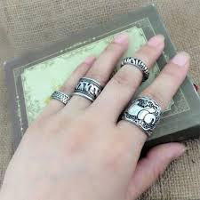 finger rings set images Elephant finger rings set boho style tenderla jpg