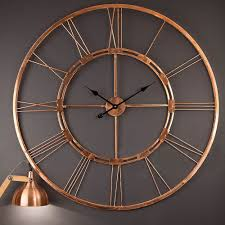 handmade 100 cm copper color wall clock metal home decor hanging