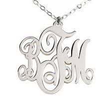 3 initial monogram necklace sterling silver 1 5 silver monogram necklace 3 initial mongogrammed necklace
