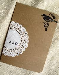 kraft paper wedding programs raechel alex s crafty doily and kraft paper wedding invitations