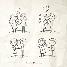 love couples sketches vector free download