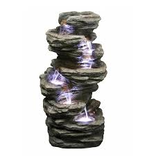 Outdoor Water Fountains With Lights Rock Fountain With Led Lights