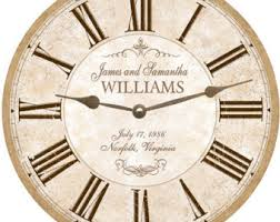 personalized anniversary clock wedding clock beautiful neutral colored personalized wedding