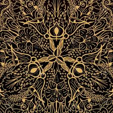 vector abstract floral geometric background gold and black shaped