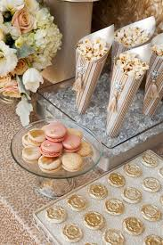 Pink And Gold Dessert Table by Make Paper Cones Out Of Gold And Blush Paper And Add Silk Ivory