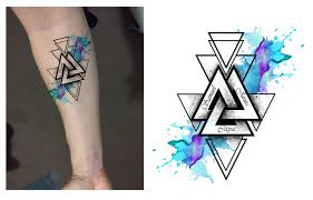 geometric family watercolor forearm design designer