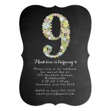 9th birthday invitations u0026 announcements zazzle