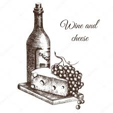 hand drawn illustration bottle of wine cheese and grapes in
