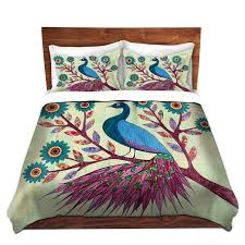 amazon com dianoche designs blue peacock cover 2 twin duvet only